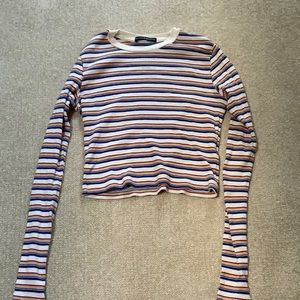Multicolored striped cropped long sleeve